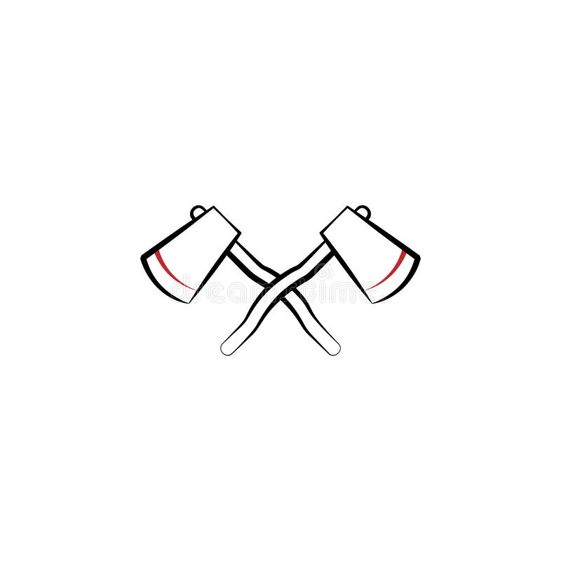 Camping, hatchets 2 colored line icon. Simple hand drawn color element illustration. Camping, hatchets outline symbol design from. Camping set on white royalty free illustration