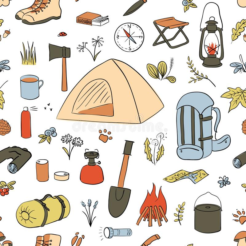 Camping Hiking icons colored sketch seamless vector pattern. Camping equipment collection. Binoculars, bowl, barbecue, vector illustration