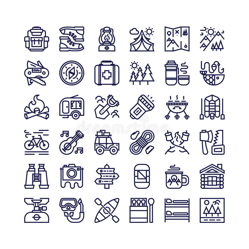 Camping and hiking icons set line style consisting of camp and t vector illustration