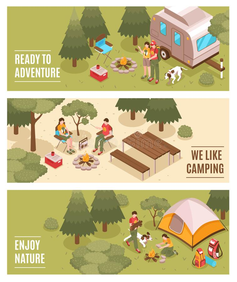 Camping Hiking Isometric Banners royalty free illustration