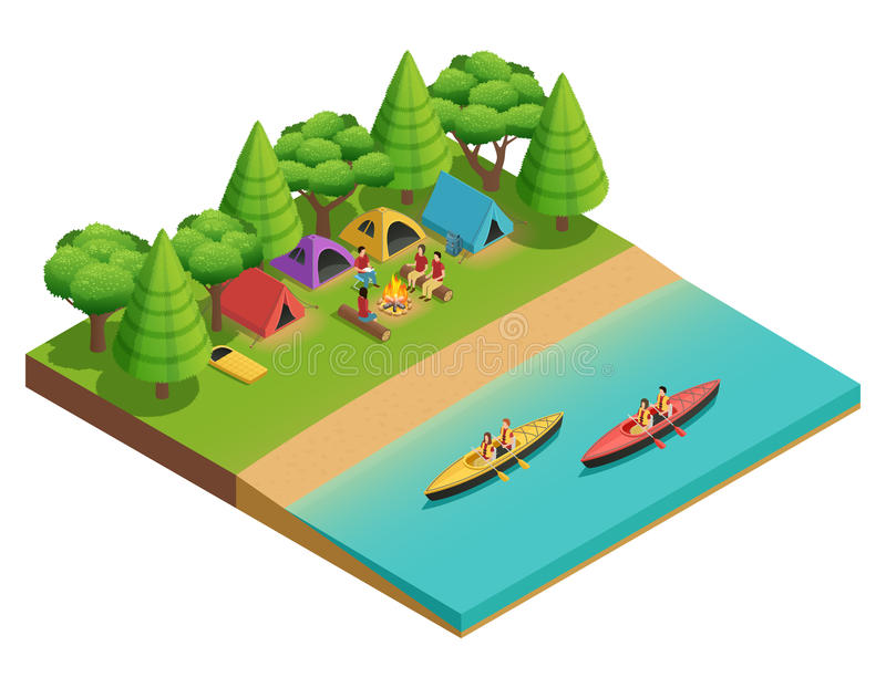 Camping Hiking Isometric Composition royalty free illustration