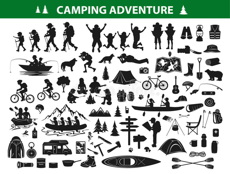 Camping hiking silhouette collection set stock illustration