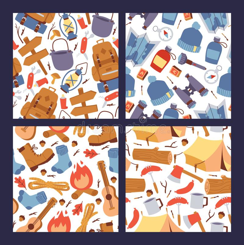 Camping hiking stickers seamless pattern vector illustration. Cartoon tourism equipment for travelling wallpaper. vector illustration