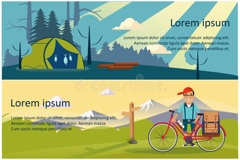 Camping, hiking and trekking horizontal banners, eco tourism, hunting, fishing, summer mountain landscape at day and vector illustration