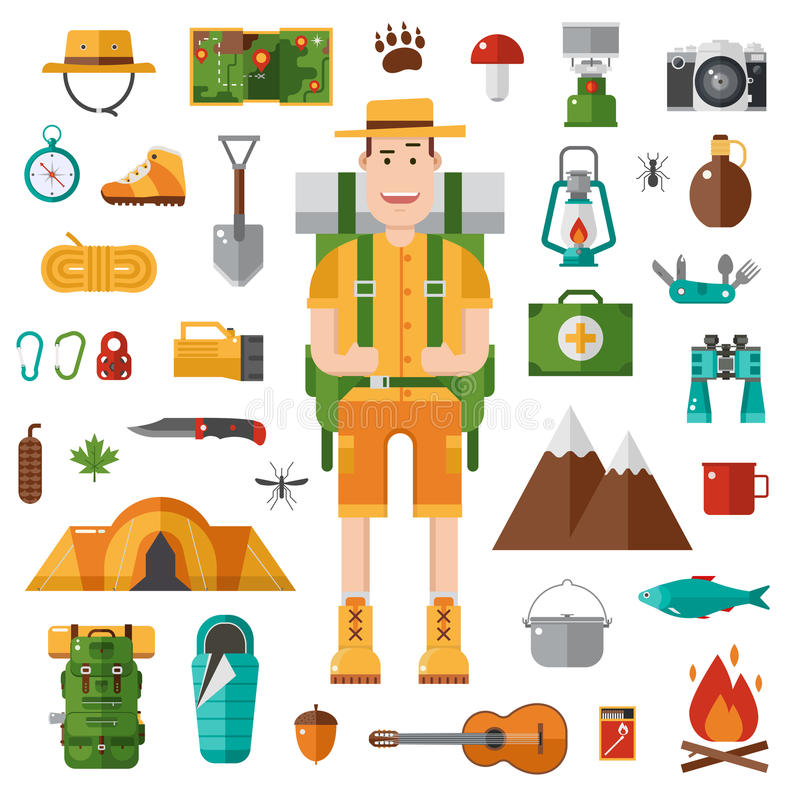 Camping And Hiking Vector Collection Stock Vector