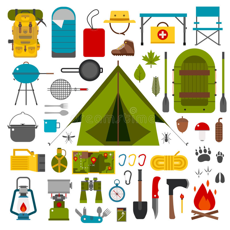 Camping and Hiking Vector Icons stock illustration