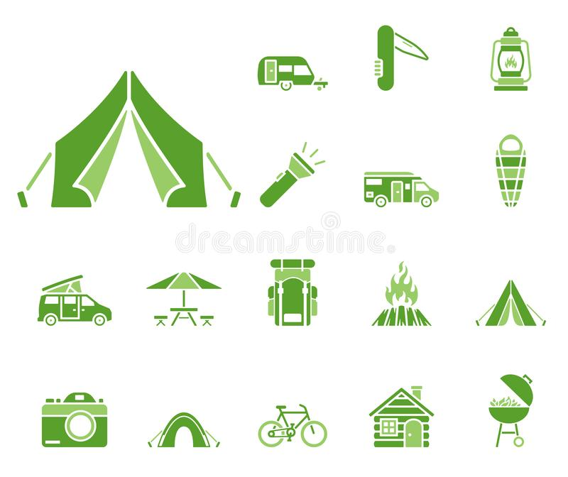 Camping icon set royalty free illustration