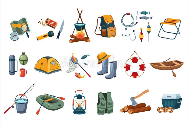 Camping icon set. Tourist equipment, items for fishing. Outdoor activity. Summer recreation. Flat vector design stock illustration