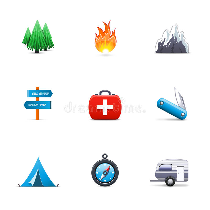 Download Camping icons stock vector. Illustration of arrow, activity - 24085765