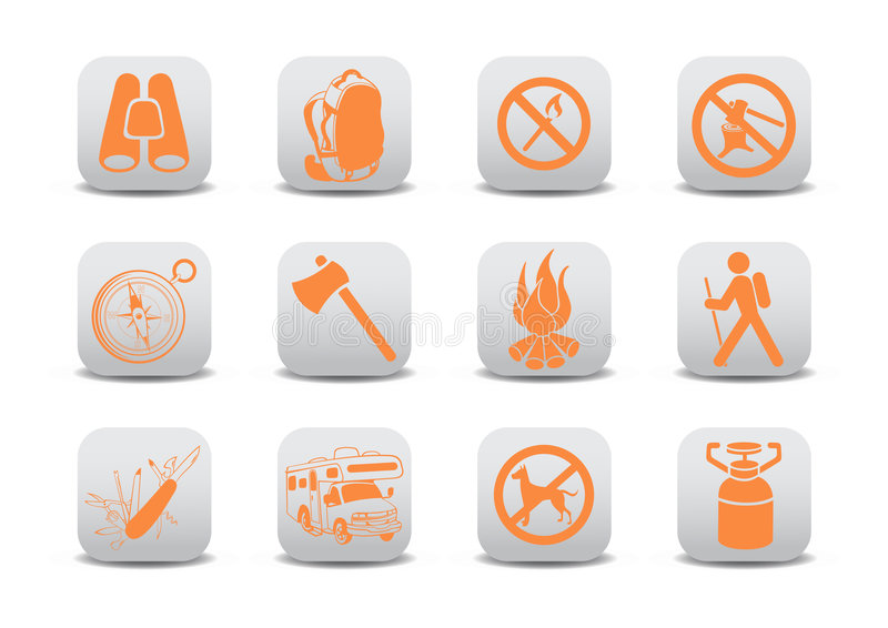 Camping icons stock illustration
