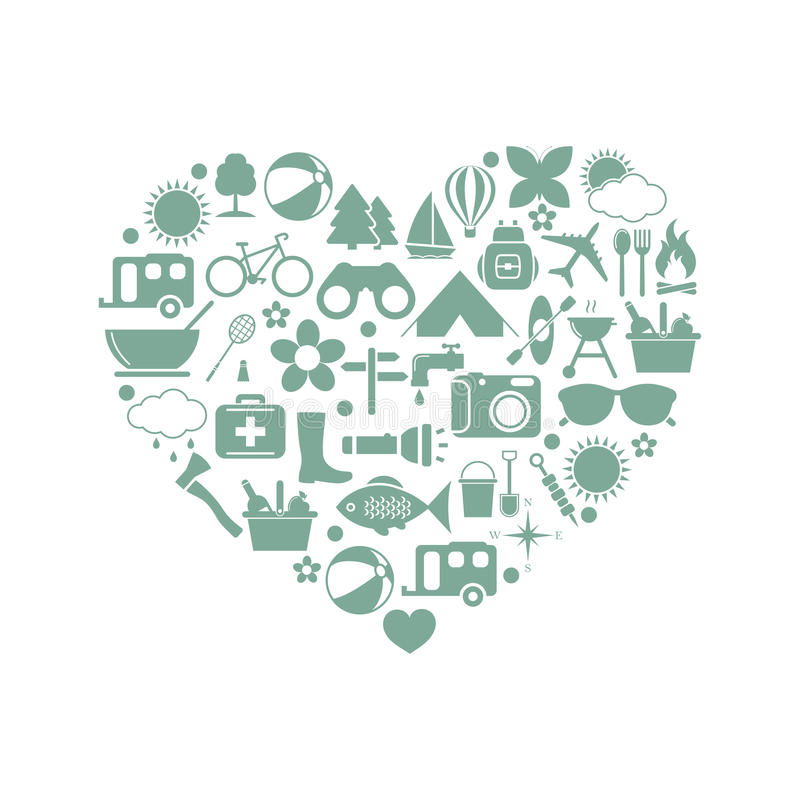 Camping icons in heart. On white background. Vector illustration vector illustration