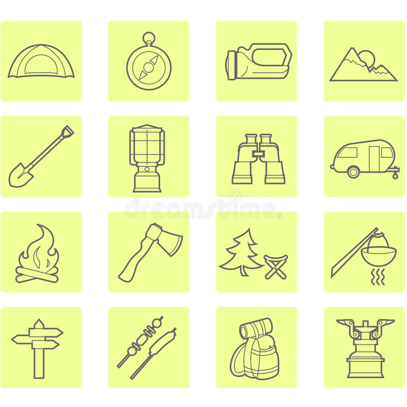 Download Camping icons set stock vector. Image of shashlik, marquee - 5797980