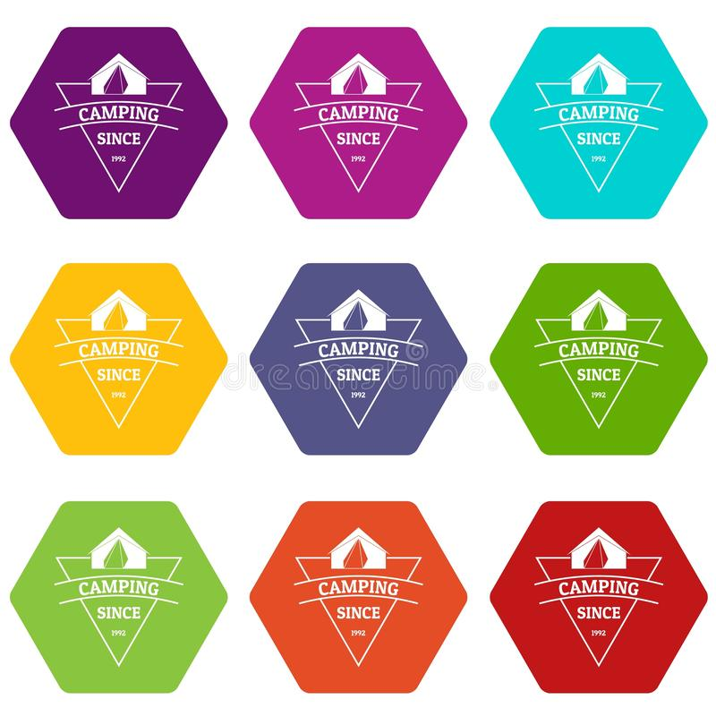 Camping icons set 9 vector stock illustration