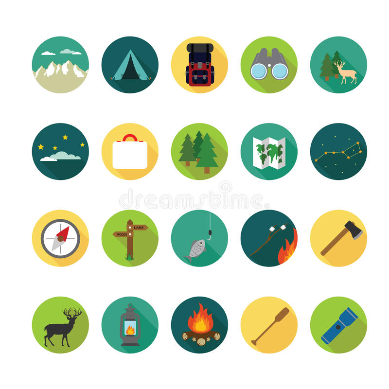 Camping icons set. royalty free illustration