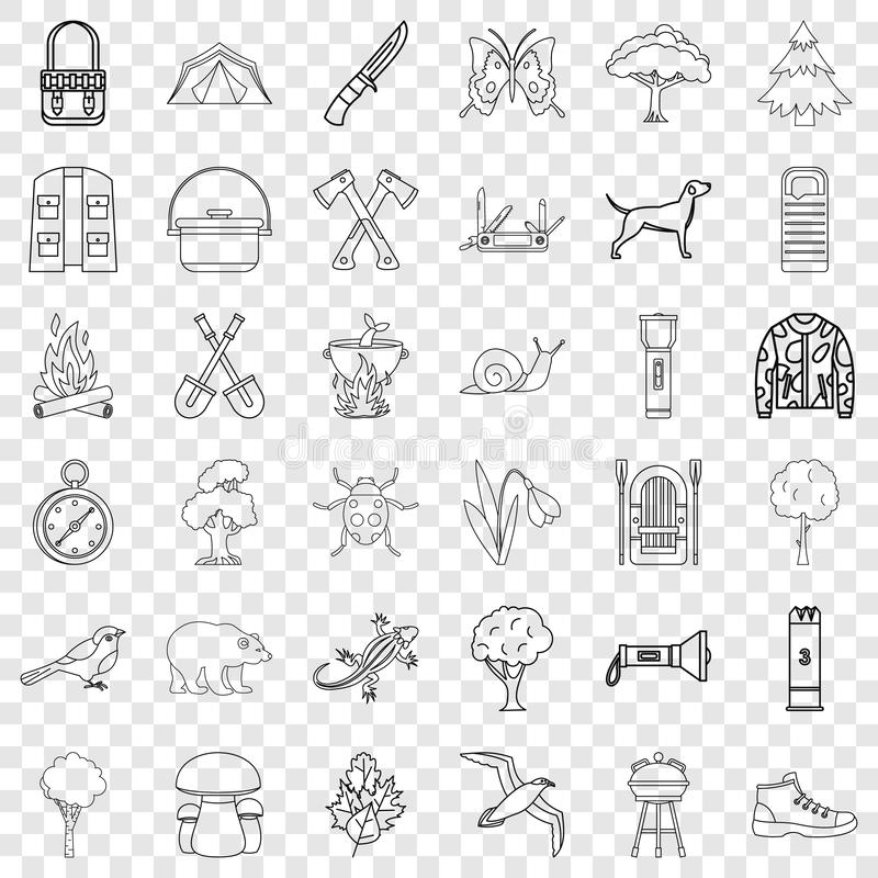 Camping icons set, outline style. Camping icons set. Outline style of 36 camping vector icons for web for any design stock illustration