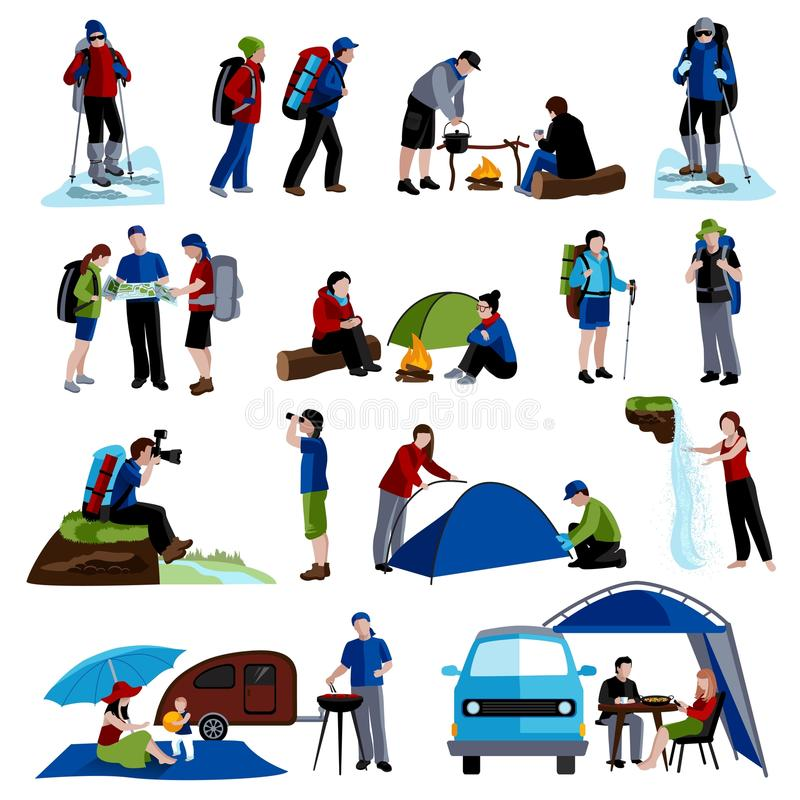 Camping Icons Set stock illustration