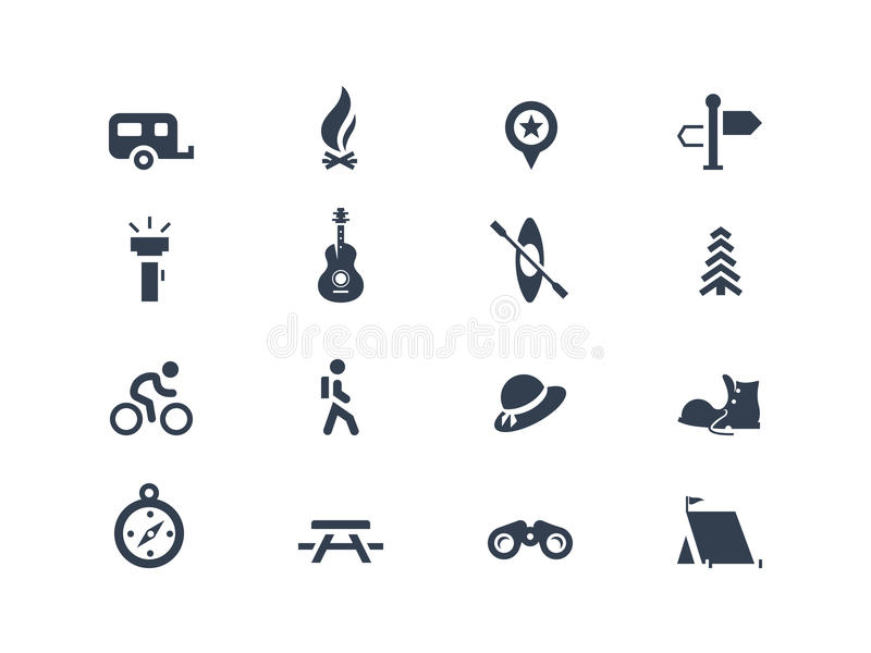 Camping icons royalty free illustration
