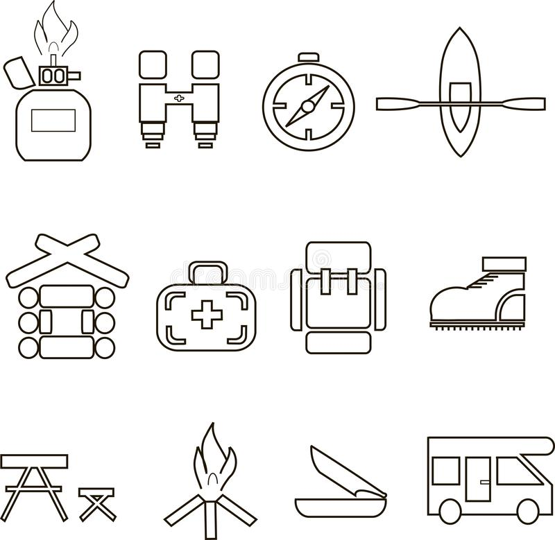 Camping icons, thin black lines on white, graphics. Gas bottle, binoculars, compass, boat, a house, medical care, backpack, shoes,. Camping icons, thin black royalty free illustration