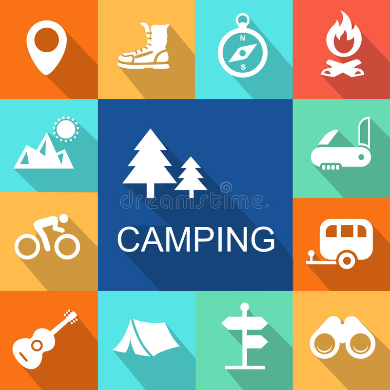 Camping icons Travel and Tourism concept. Vector. Illustration royalty free illustration