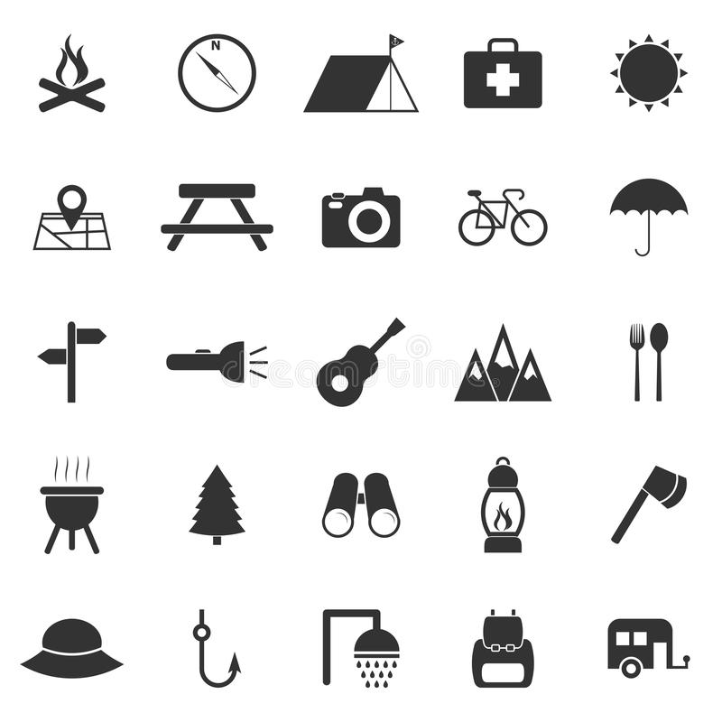 Download Camping Icons On White Background Stock Vector - Image: 40364513
