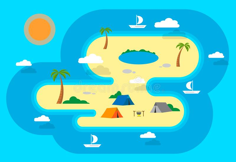 Camping on the island. Sailing around the island. Lake and palm trees. Campfire. Editable. Vector illustration. stock photography