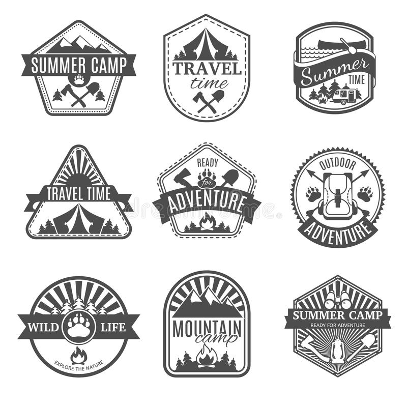 Camping Isolated Icons Set. Set of black and white different shaped icons with ribbons and camping types isolated vector illustration royalty free illustration