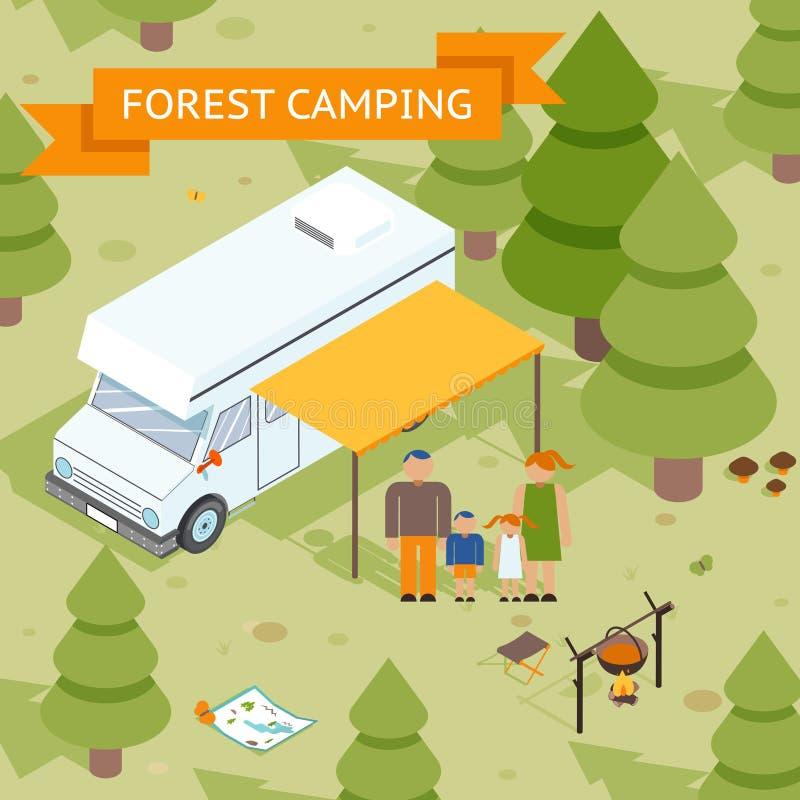 Camping isométrique de forêt de famille illustration stock