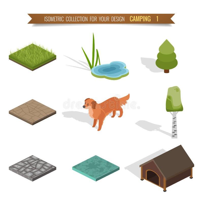 Camping isométrique de la forêt 3d illustration stock