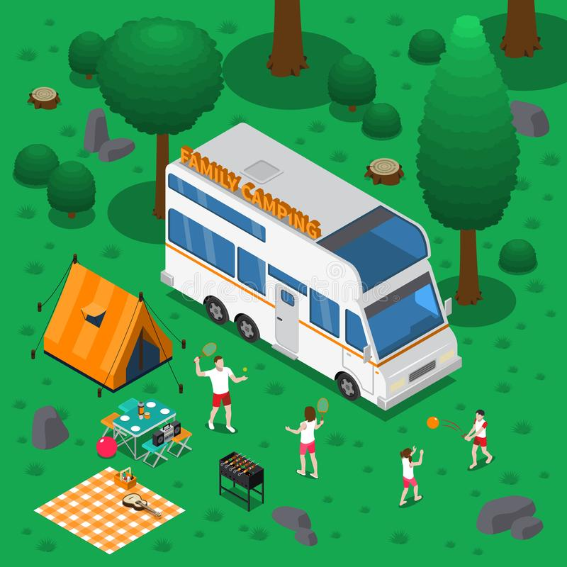 Camping Isometric Concept stock illustration