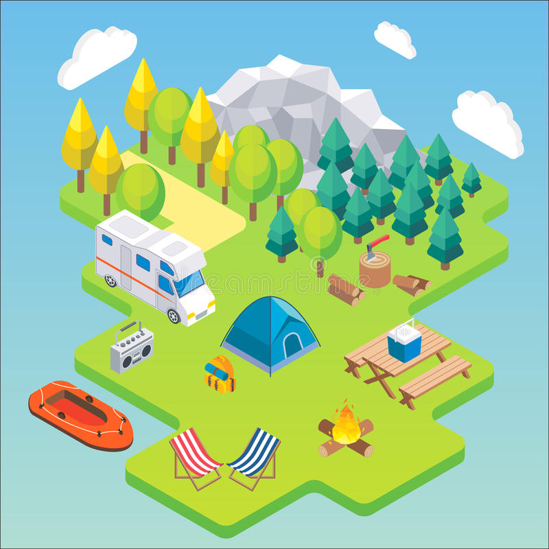 Camping isometric concept. Vector illustration in flat 3d style. Outdoor camp activity. Travel by camper in mountains.  stock illustration