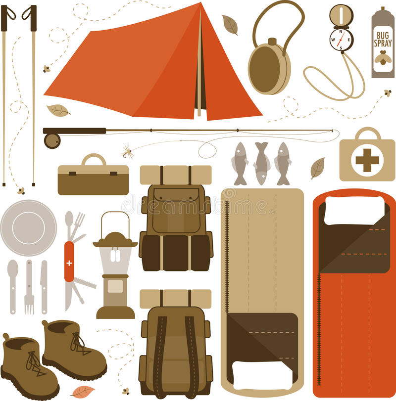 Camping Items. Vector Illustration of items used while camping royalty free illustration