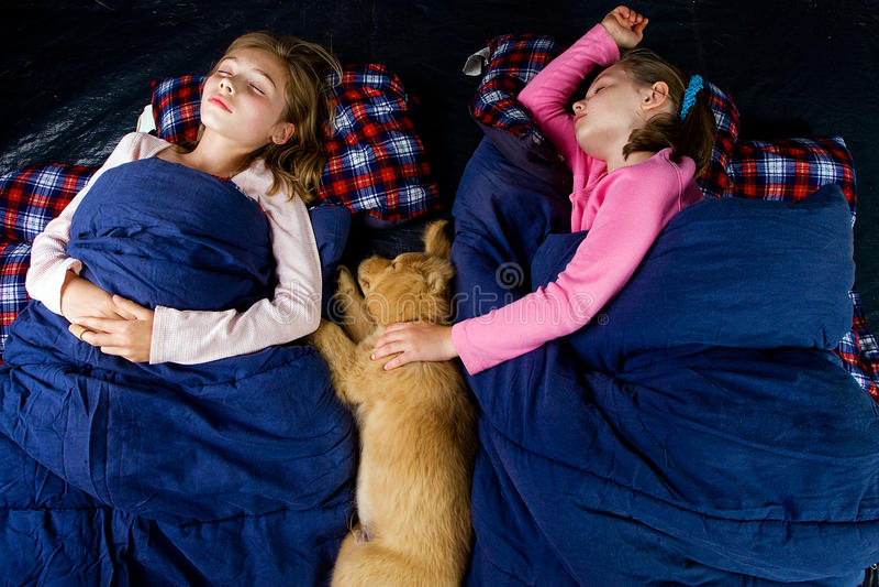 Camping kids stock image