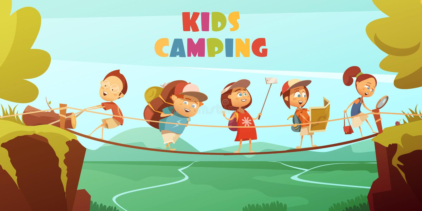 Camping Kids Background royalty free illustration