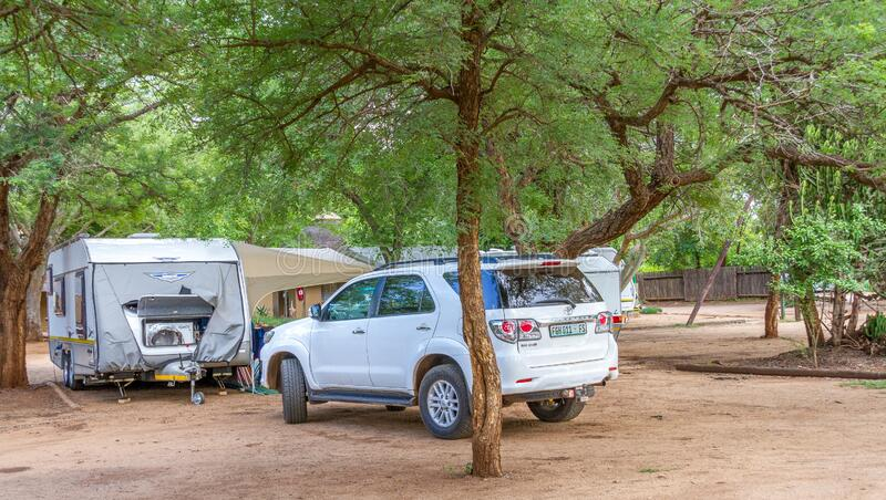Camping in the Kruger National Park in South Africa. Komatipoort, South Africa - January 16, 2020: camping and caravanning in the Kruger National Park in South royalty free stock photos