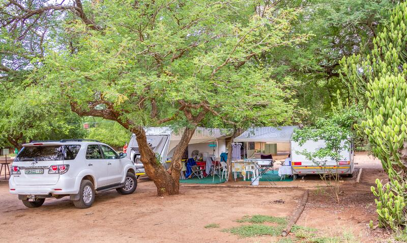 Camping in the Kruger National Park in South Africa. Komatipoort, South Africa - January 16, 2020: camping and caravanning in the Kruger National Park in South royalty free stock photography