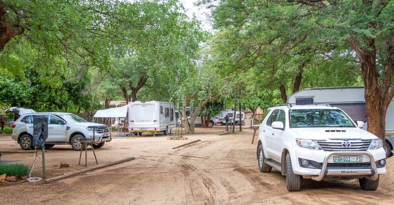 Camping in the Kruger Park in South Africa. Komatipoort, South Africa - January 20, 2020: Caravan camping in the Kruger National Park is a popular South African stock photo