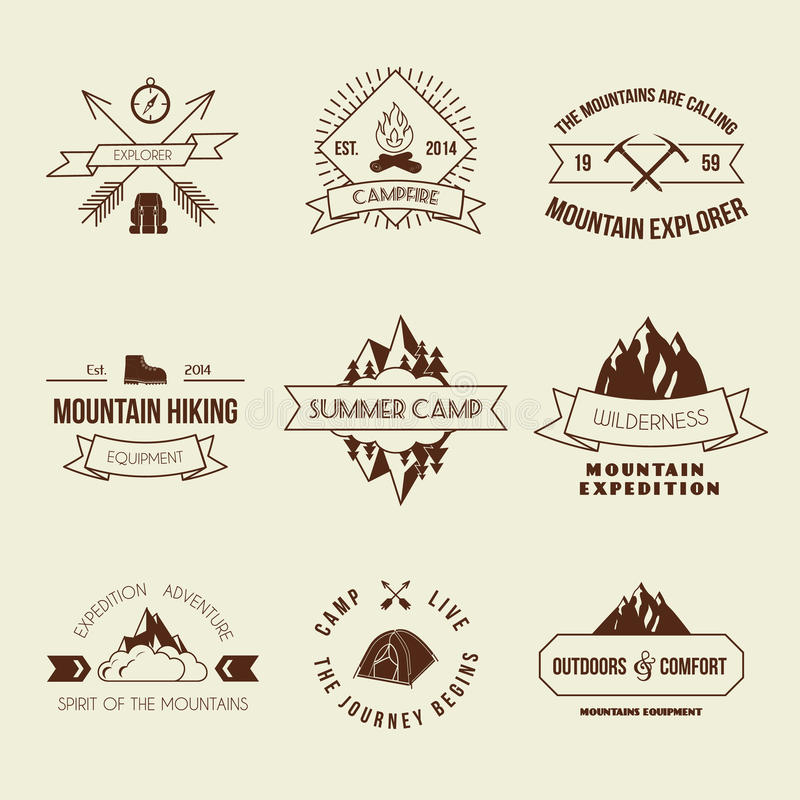 Camping labels set. Camping mountain adventure hiking explorer equipment labels set isolated vector illustration vector illustration