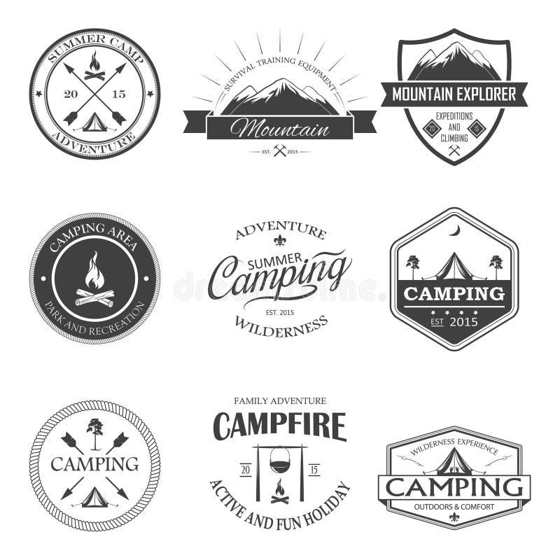 Camping labels set royalty free illustration