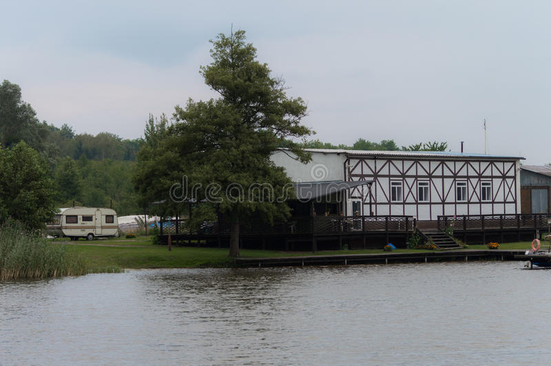 Camping on a lake shore.  royalty free stock image