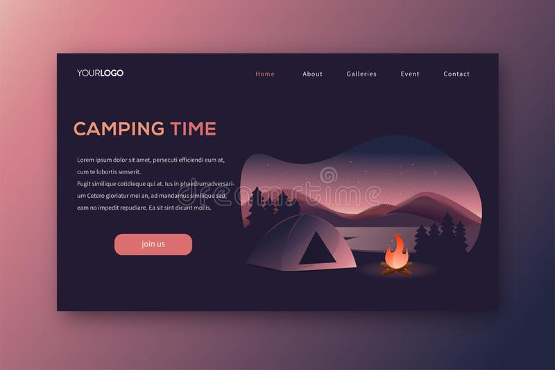 Camping landing page vector template stock photography