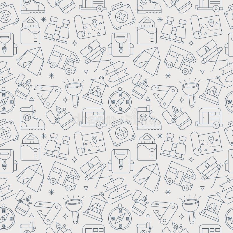 Camping line icon pattern set stock illustration