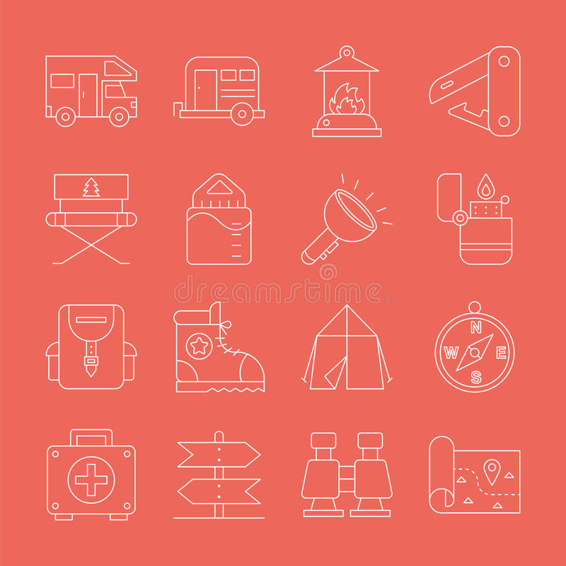 Camping line icon set vector illustration