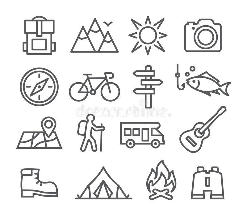 Camping line icons vector illustration