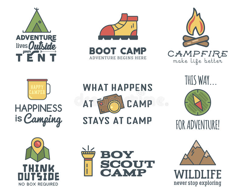 Camping logo design set with typography and travel elements - compass, mountain, tent. With adventure sayings and signs stock illustration