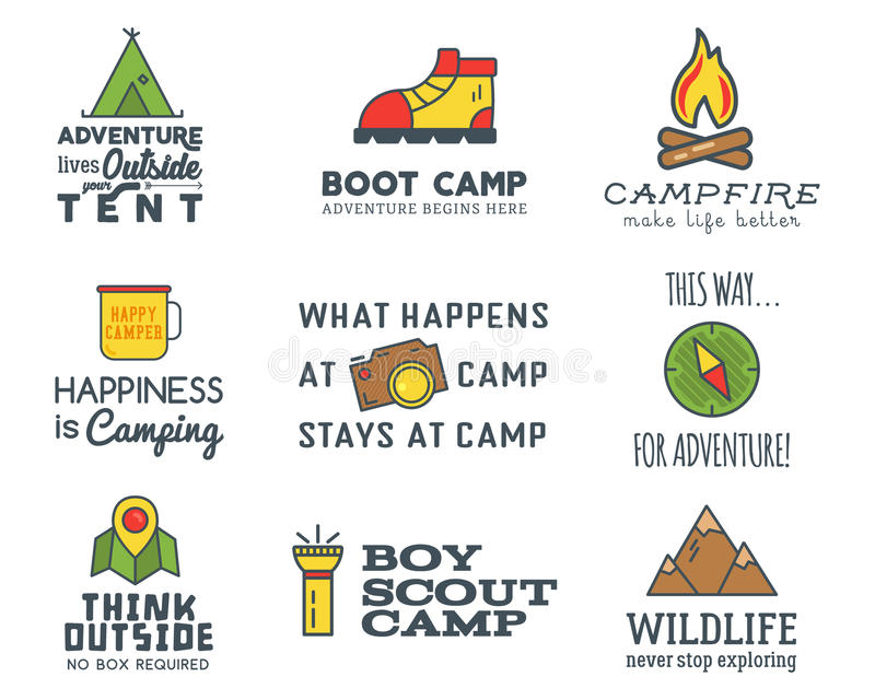 Camping logo design set with typography and travel elements royalty free illustration