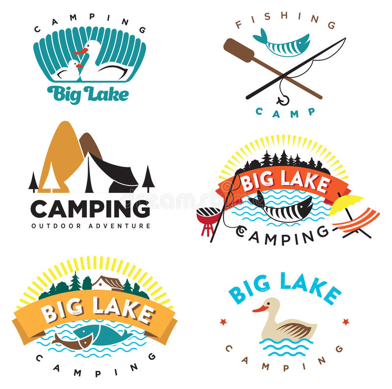 Camping logo. Set of vintage camping and outdoor logo's, emblems, labels design and elements. Vector