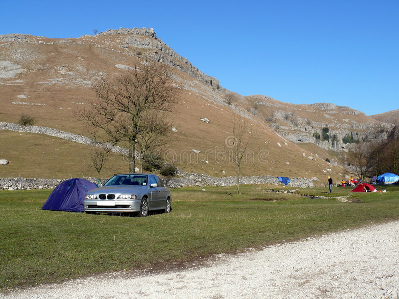 Camping at Malham Cove stock photography