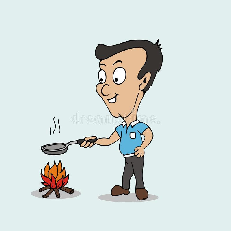 Download Camping Man Cook Food Fire Nature Stock Image