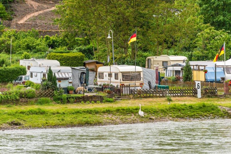 Camping Marienort in Trechtingshausen near Reichenstein castle,. Trechtingshausen, Germany - May 23, 2016: Camping Marienort in Trechtingshausen near stock photography