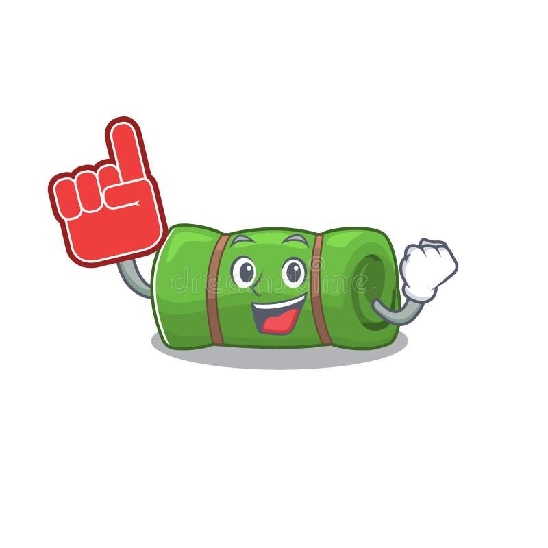 Camping mat Scroll mascot cartoon style with Foam finger stock illustratie
